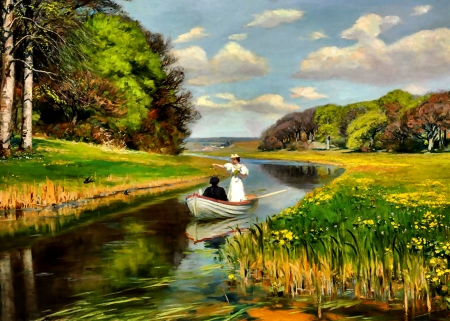 Rowing Boat on the Odense  - art, beautiful, illustration, lake, artwork, painting, wide screen, waterscape, river