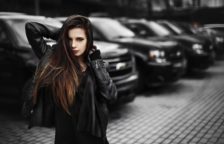 girl - cars, black, model, girl