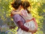 Mother and Daughter in Lilac Garden