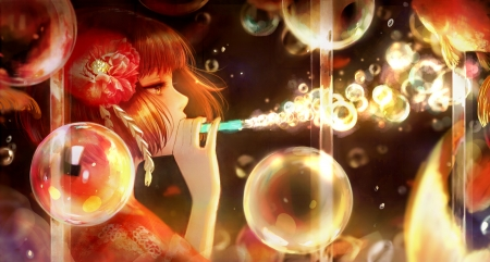 Bubbles - pretty, float, hd, circle, beautiful, magic, sweet, round, nice, fantasy, anime, bubbles, blowing, beauty, anime girl, light, bubble, female, lovely, blow, short hair, water, girl, flower
