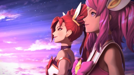 Jinx and Lux - lux, red hair, lol, league of legends, jinx, magical girl, 3D, star guardian, skin, alternative outfit, pink hair