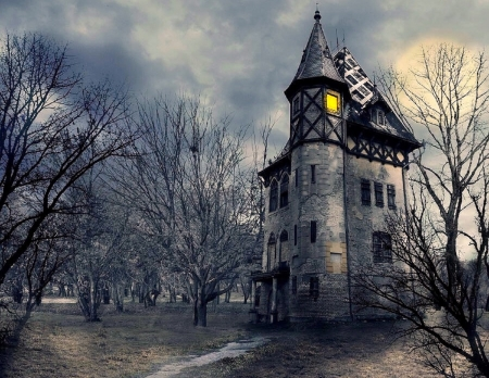 Haunted Castle - architecture, halloween, love four seasons, haunted, attractions in dreams, creative pre-made, castles, ghost, spooky