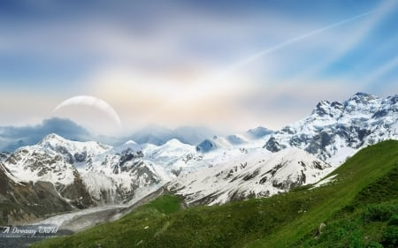 A dreamy world - snow, dky, nature, mountain