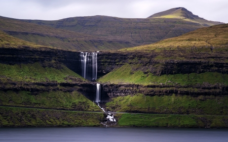 Fossa Waterfall, Faroe Islands - faroe, waterfall, nature, island