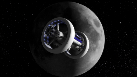Moon Space Station - render, stations, futuristic, moon, 3D, space