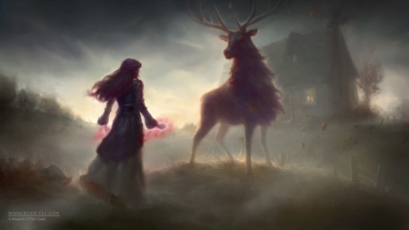 ♥ - art, fantasy, lady, deer