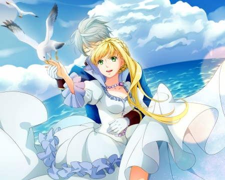 Heavenly Blue - pretty, magic, seagull, sweet, nice, fantasy, anime, feather, beauty, anime girl, lovely, ene, gown, blonde, anime couple, sky, happy, hug, water, white, dress, blond, beautiful, elegant, sea, blue, couple, gorgeous, female, cloud, angel, factasy, smile, girl, bird, scene