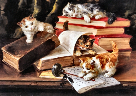 Kittens Playing on a Desk FC - art, books, kittens, beautiful, pets, artwork, animal, feline, painting, inkwell, wide screen, cats, papers