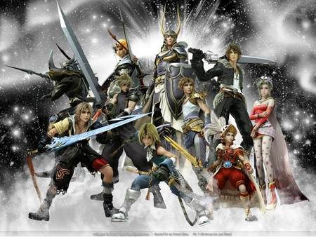 For Cosmos! - warrior of light, cloud, cecil, squall, zidane, bartz, tidus, firion, onion kinght, terra, dissidia, final fantasy