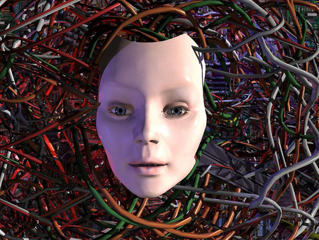 Electronic face - creepy, electronic, face, wire, technology, abstract, wires