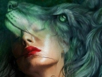 ♥Wolf Art Face Woman♥