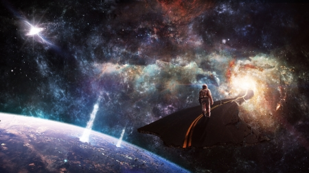 The Dream - planet, astronaut, space, explosion, wormhole, road, galaxy