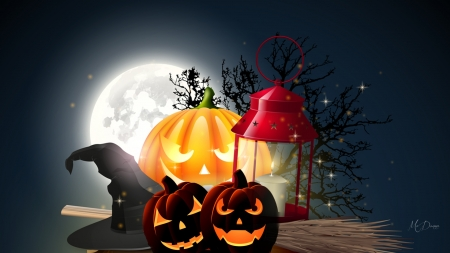Halloween Moon - lantern, halloween, trees, broom, witch hat, jack-o-lantern, pumpkin, full moon, light