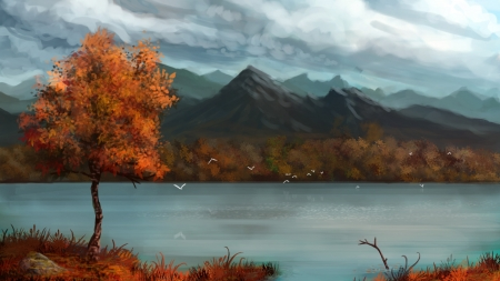 Autumn and the lake - fall, calm, mountains, nature, tree, autumn, lake