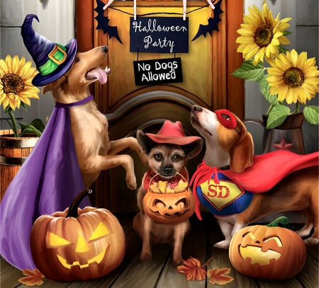Halloween Party F Dogs Animals Background Wallpapers On