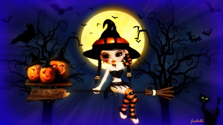 Halloween Night ~ - Fullmoon, black, Spooky, Fantasy, Trees, Pumpkins, Cat, Bats, Halloween, Witch, Crow, Night