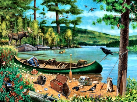 Unexpected Visitors F - art, moose, songbirds, beautiful, canoe, illustration, raccoon, lake, artwork, painting, wide screen, wildlife, waterscape, crow, river