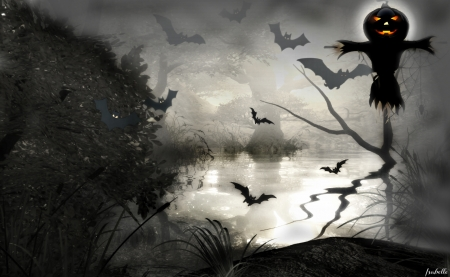 Time is coming !!! - Pumpkin, Spooky, Fog, Fantasy, Dark, Reflection, Trees, Glow, Lake, Bats, Halloween, Night