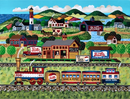 Pepsi Station  - pepsi, railroad, art, locomotive, beautiful, illustration, artwork, train, engine, painting, wide screen, station, tracks