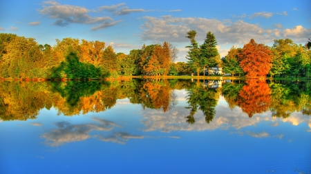 Autumn Lake - forest, autumn, nature, reflection, trees, clouds, lake
