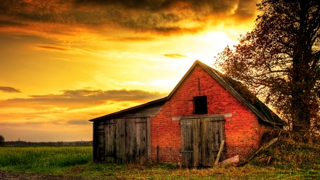 Old Barn And Tree Farms Architecture Background Wallpapers On