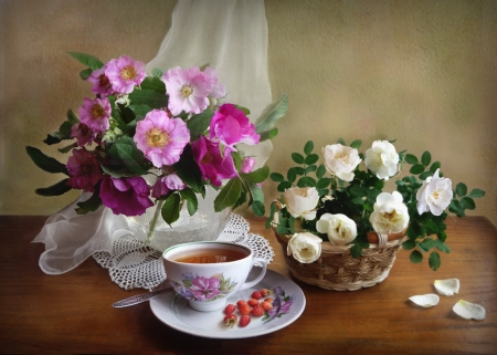 FLOWERS - CUP, SAUCER, FLOWERS, VASE