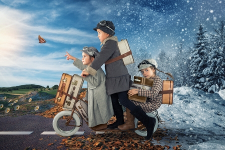 Escaping winter - john wilhelm, children, creative, situation, butterfly, girl, escaping winter, sister, copil, funny, blue