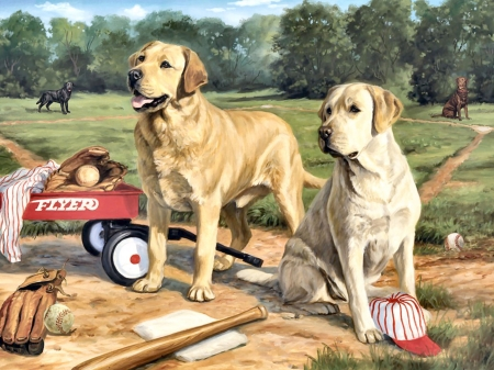 Yellow and White Labradors FC - art, beautiful, pets, artwork, canine, animal, painting, wide screen, labradors, dogs