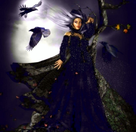 ~Gothic Witch~ - witch, fall, autumn, crows, halloween, love four seasons, creative pre-made, digital art, woman, ravens, leaves, fantasy, mixed media, weird things people wear
