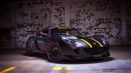 Lotus After Dark - matte black, sportscar, supercharged, supercar, racing, CCW, Lotus, redline design, flat black, elise, matte black lotus