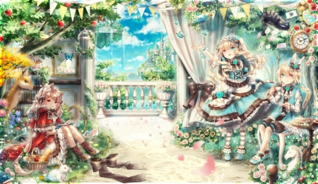 Dream of Shine - pretty, dress, blond, friend, adorable, sweet, nice, loli, anime, friendship, anime girl, scenery, long hair, female, cloud, lovely, balcony, lolita, blonde, blonde hair, sky, blond hair, pillar, short hair, cute, boy, kawaii, girl, porch, flower, scene