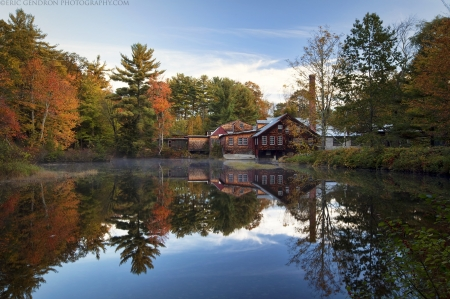 Log Cabin - log, woods, water, modern, house, wood, home, cabon, housing, architecture, trees, lake
