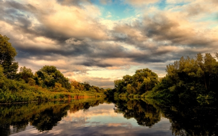 Reflections - clouds, water, river, sky
