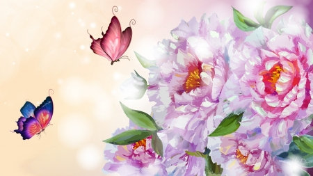 Peonies with Shine - fragrant, butterflies, floral, peonies, summer, flowers, garden, blooms, pink, Firefox Persona theme