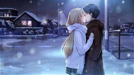 Just a Kiss - pretty, house, breeze, adorable, sweet, nice, love, anime, beauty, anime girl, long hair, embrace, lovely, romance, blonde, anime couple, sexy, winter, hug, cute, snow, lover, freeze, white, blond, guy, home, kissing, beautiful, kiss, cold, hot, scenery, couple, night, lamp, female, male, romantic, hugging, blonde hair, blond hair, kawaii, boy, girl, scene