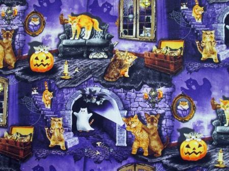 Halloween Cat House - house, jack o lanterns, stairs, spider, trunks, moon, full moon, bat, fish bones, couch, loveseat, bones, webs, window, kittens, spider webs, candles, chests, ghosts, candelabras, pictures, cats, sofa, pumpkins, steps