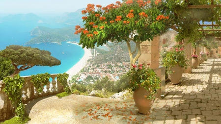 Seaside 4 - beach, flowers, terrace, luxury, sea