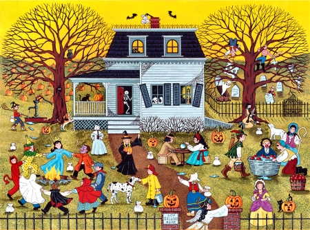 Mischief on Gallows Road FC - art, house, holiday, tombstones, children, beautiful, illustration, artwork, October, painting, wide screen, occasion, Halloween, pumpkins
