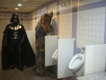 Fans dressed as Darth Vader and Chewbacca in a bathroom as they attend 53rd Antalya Film Festival in the Turkish resort of Antalya on October 17, 2016