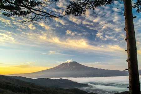 Mt. Fuji - scenery, clouds, japan, nature, fuji, japanese, lake