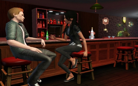 Girl and boy bar room conversation - players, late night, pose art pc game, room conversation