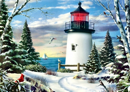 Sailing on By F - architecture, art, sailing, beautiful, songbird, artwork, lighthouse, winter, snow, painting, wide screen, seascape, gull, scenery, cardinal