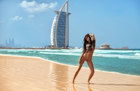 Beauty - beach, hotel, sand, girl, beautiful, dubai