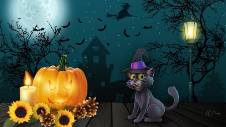 Halloween Eve - bats, haunted house, pine cones, sunflowers, black cat, pumpkin, full moon, Halloween, Firefox Persona theme