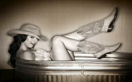 I'm Trying To Bathe.. - female, models, hats, cowgirl, boots, ranch, fun, women, brunettes, tub, bathe, girls, western, style