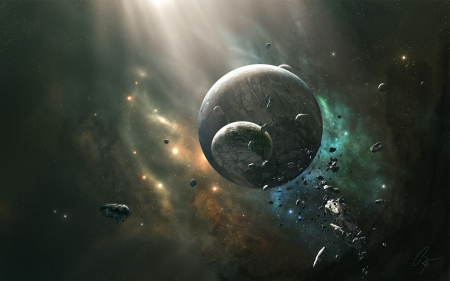 Spectrum V - planets, stars, render, 3d, space