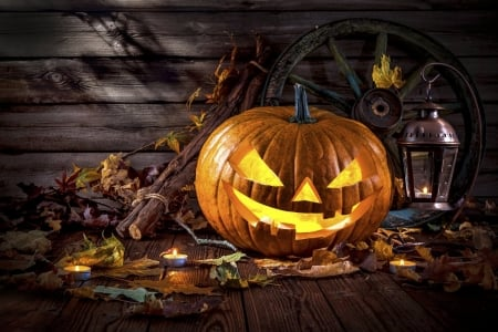 Jack O Lantern - sticks, lantern, jack o lantern, candles, wagon wheel, still life, leaves, flames, pumpkin, wheel, wood