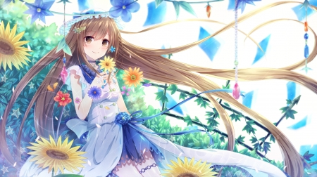 Flowers ~~~ - pretty, dress, hd, blush, yellow, beautiful, adorable, sweet, blossom, nice, anime, beauty, anime girl, long hair, blue, female, lovely, brown hair, smile, happy, cute, kawaii, girl, flower, petals, white