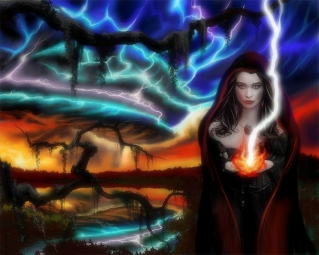 ~Witch Call the Storm~ - witch, colorful, holiday, halloween, love four seasons, creative pre-made, digital art, woman, storm, fantasy, gothic, dark, weird things people wear