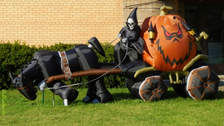 Look Who's Skulking Around MY Neighborhood! - skeleton, grass, orange, trick or treat, jack o lantern, cart, black horse, shrubs, jackolantern, pumpkin, Halloween, Ha11oween, bricks, lanterns, shrubbery, horse, Grim Reaper, skull, pumpkins
